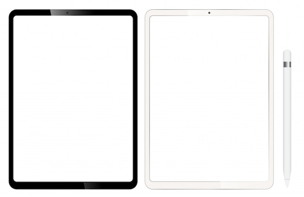 Blank tablets or ipad. comes with a pen for design. Premium Vector