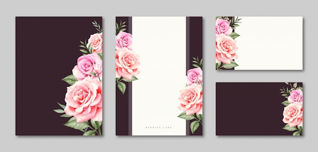 Blank template wedding card invitation set design Premium Vector