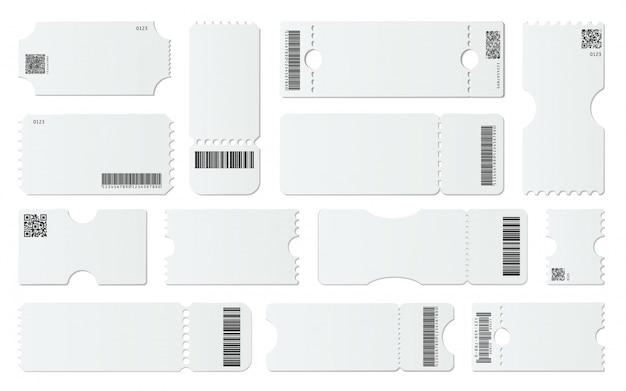 空白のチケットのモックアップ。バーコード付きの白いチケット、空のクーポン、および1つのチケットテンプレートセットを認めます。引き剥がし要素のあるクーポン。 qrコード、デジタル識別。ギフトカードのサンプル Premiumベクター
