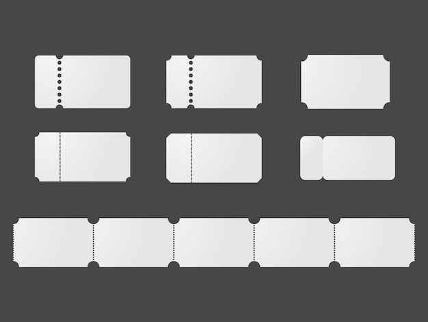 Blank ticket templates Premium Vector