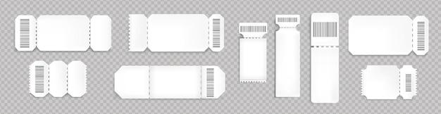 バーコードと点線で空白のチケットのモックアップ。コンサート、映画館、交通機関の搭乗用の空のテンプレート。透明な背景に分離された白い宝くじクーポン、現実的な3dベクトルセット 無料ベクター