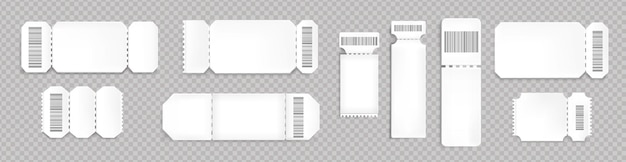 Blank tickets mockup with barcode and dotted line. empty templates for concert, movie theater and transport boarding. white lottery coupons isolated on transparent background, realistic 3d vector set Free Vector