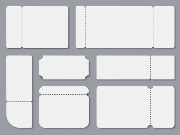 Blank tickets. white theater and cinema ticket mockup. Premium Vector
