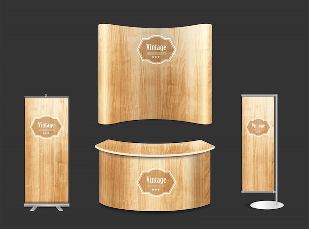 Blank trade show booth exhibition stand wood texture background Premium Vector