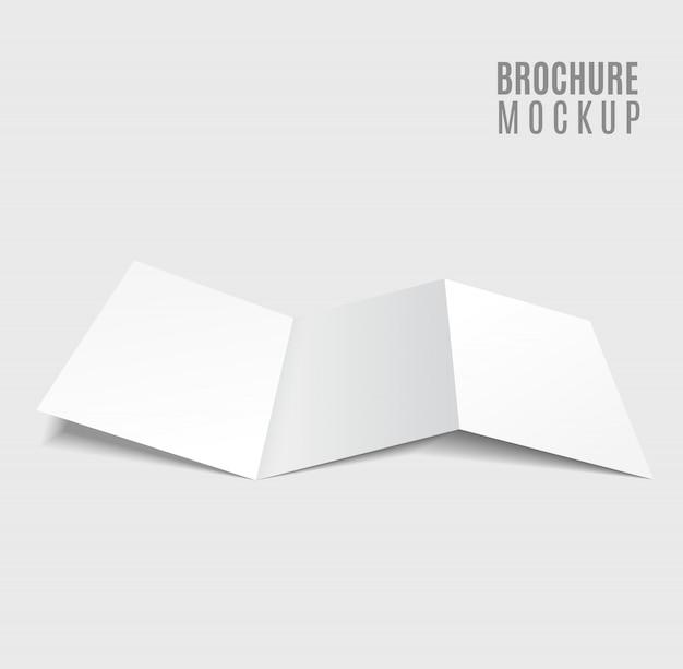 Blank tri-fold brochure design isolated on grey Premium Vector