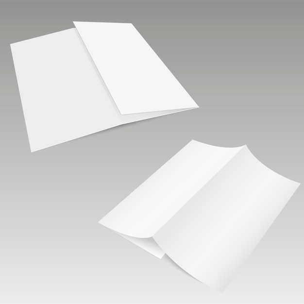 blank trifold white template paper with soft shadows vector