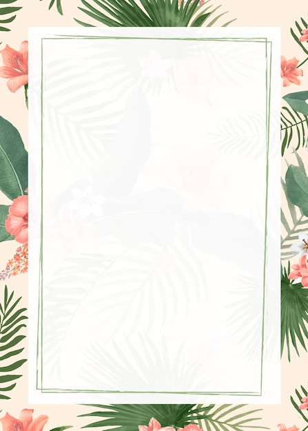 Blank tropical frame background Free Vector