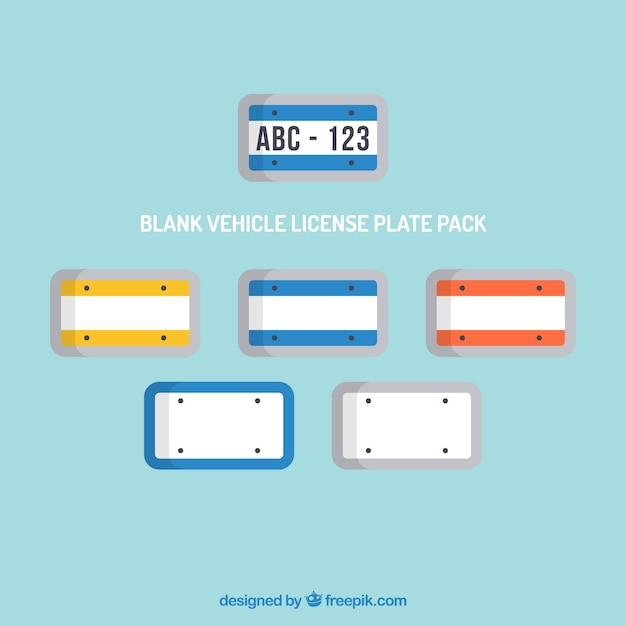 Blank vehicle license plate pack Vector | Free Download