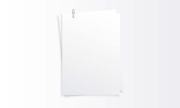 Blank vertical paper realistic mockup with paper clip Premium Vector
