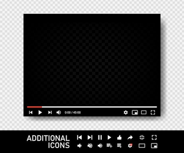 Пустой видеоэкран. интерфейс видео плеера. вы используете настольный веб-плеер для настольных компьютеров, современный шаблон дизайна интерфейса социальных сетей для веб-приложений и мобильных приложений. Premium векторы
