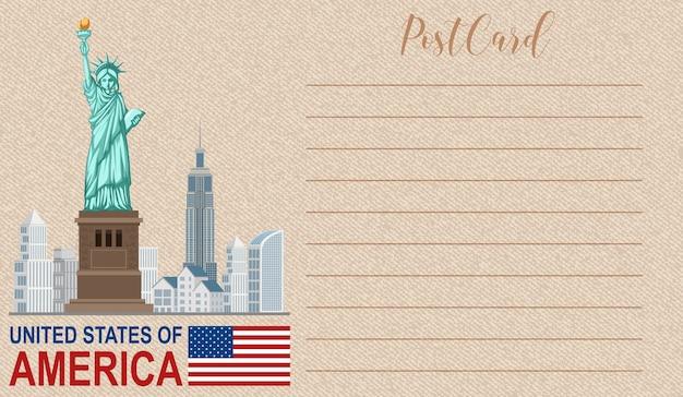 自由の女神国定公園のある空白のビンテージポストカード Premiumベクター