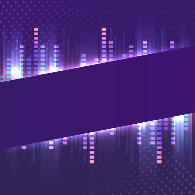 Blank violet banner neon signboard vector Free Vector