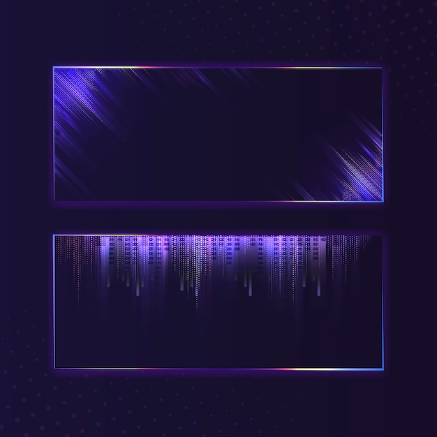 Blank violet purple rectangle neon signboard vector Free Vector