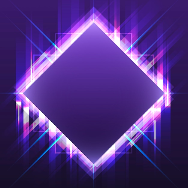 Blank violet square neon signboard vector Free Vector