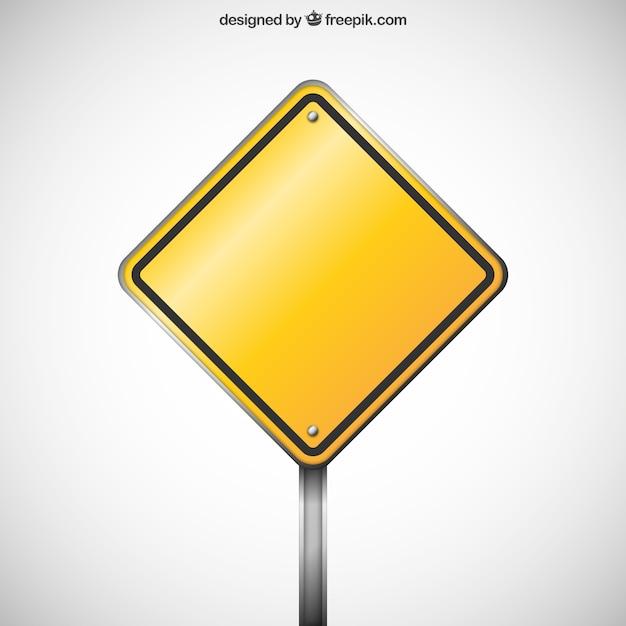 Blank warning road sign Premium Vector