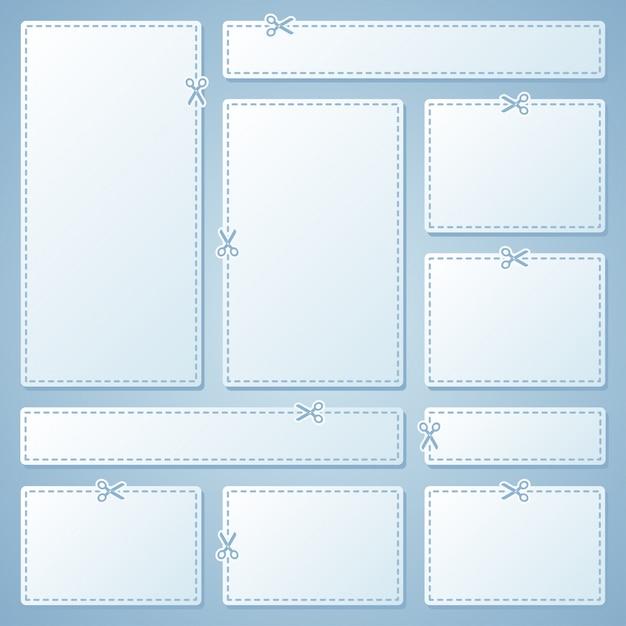 Пустые белые рекламные купоны Premium векторы