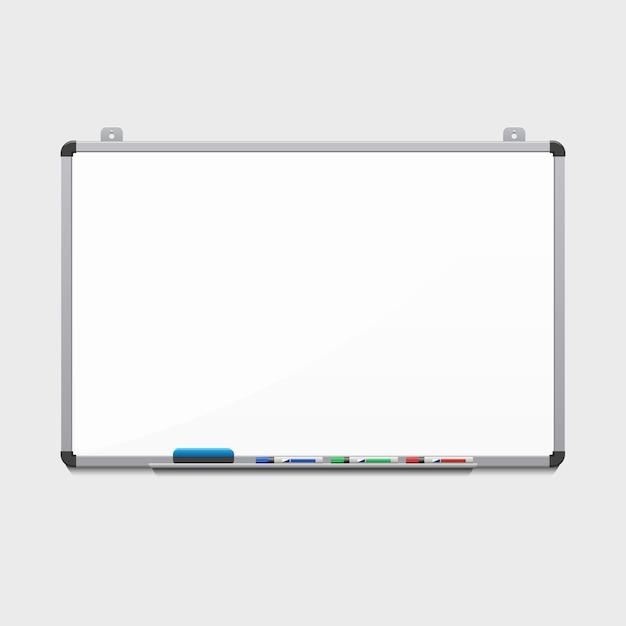 Lavagna bianca vuota con pennarelli colorati. tabellone per le affissioni e affari, istruzione e spazio vuoto Vettore gratuito