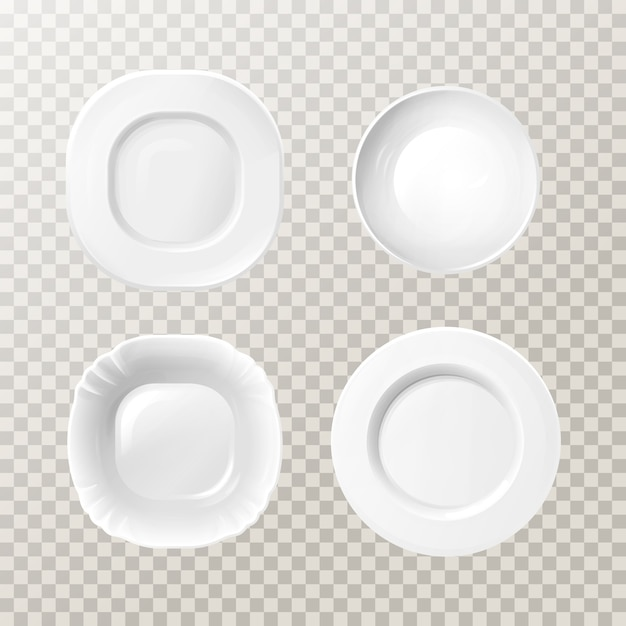 Blank white ceramic plates mockup set. realistic porcelain round dishes for dining Free Vector