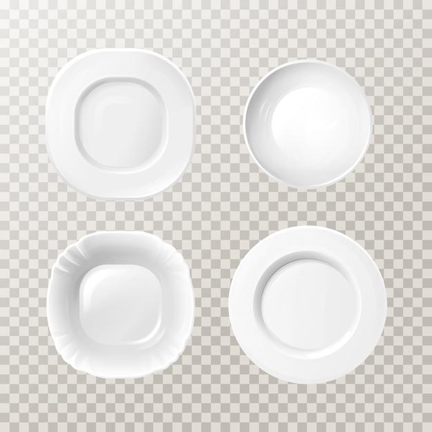 Пустой белый керамический тарелки. реалистичные фарфоровые круглые блюда для столовой Бесплатные векторы