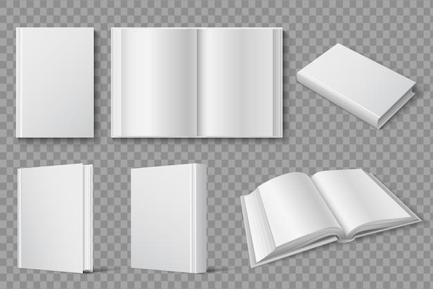 空白の白い閉じた本と開いた本。教科書やパンフレットの分離されたテンプレート。表紙の本、白い教科書とパンフレット、オープンペーパーバックのイラスト Premiumベクター