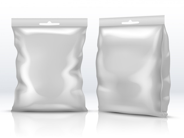 Blank white food paper or foil packaging isolated 3d vector illustration Premium Vector