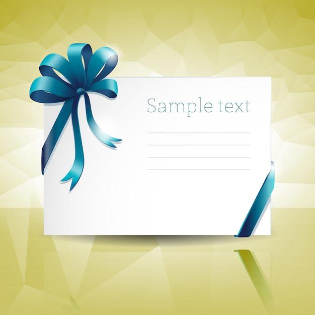 青いリボンの弓とテキストフィールドと空白の白いギフトカード 無料ベクター