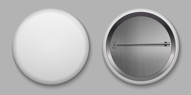 Blank white glossy badge with pin vector illustration Premium Vector