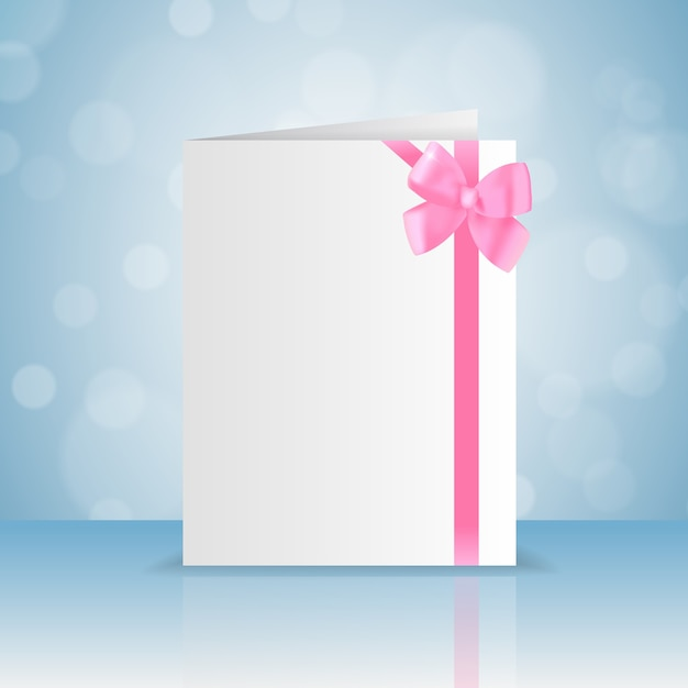 Blank white greeting card with romantic pink bow and ribbon with bokeh flat Free Vector