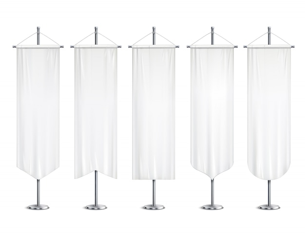 Blank white long mock up pennants flags  banners hanging on pole stand support realistic set  illustration Free Vector