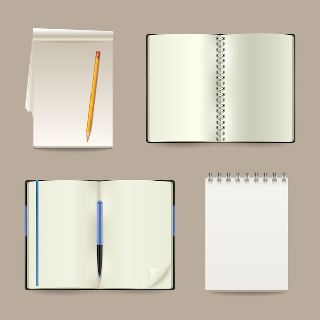 Blank white open realistic paper notebooks set Free Vector