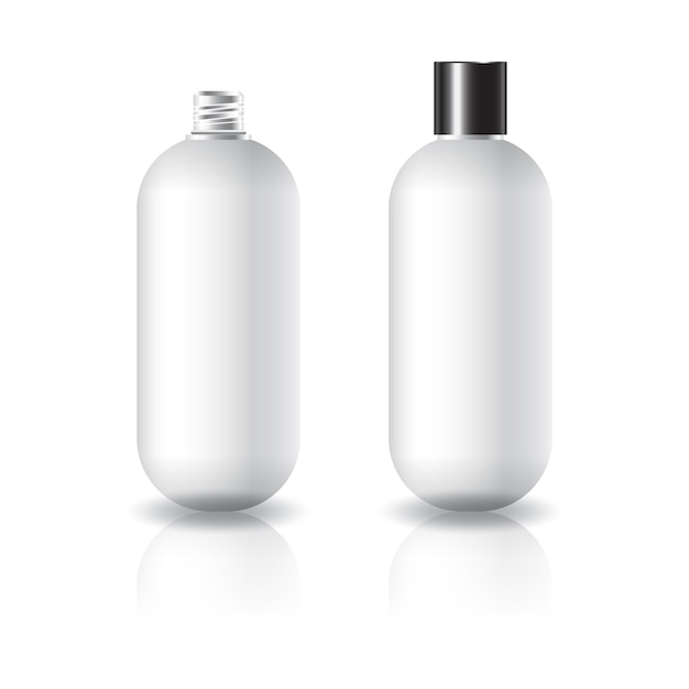 Blank white oval round cosmetic bottle with black plain screw lid. Premium Vector