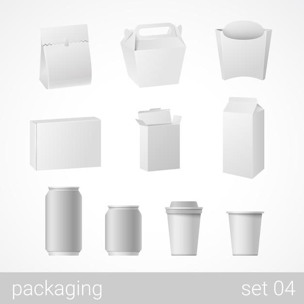 Oggetti di imballaggio bianco vuoto isolati su bianco illustrazione Vettore gratuito