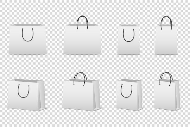 空白のホワイトペーパーバッグセット。のテンプレート。 。 Premiumベクター