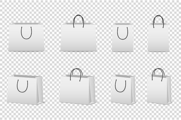 Blank white paper bag set .  template for . . Premium Vector