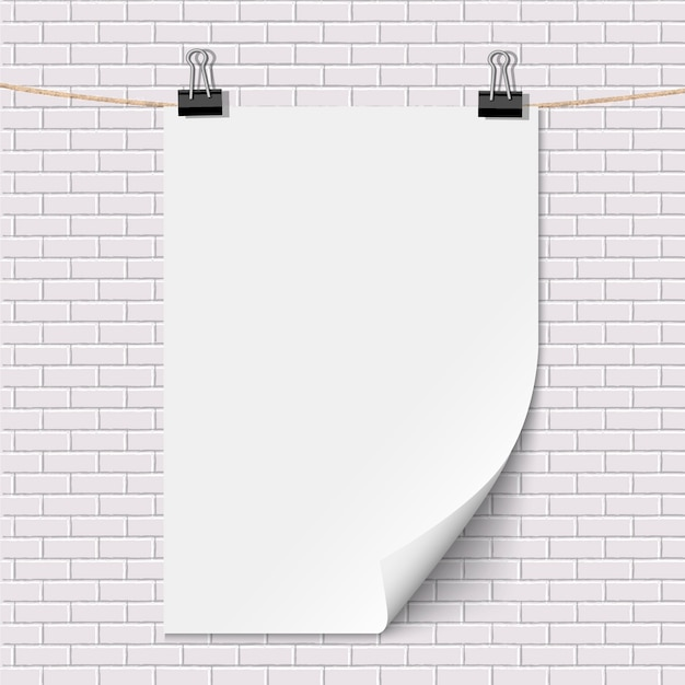 Blank white paper poster hanging on brick white wall Premium Vector