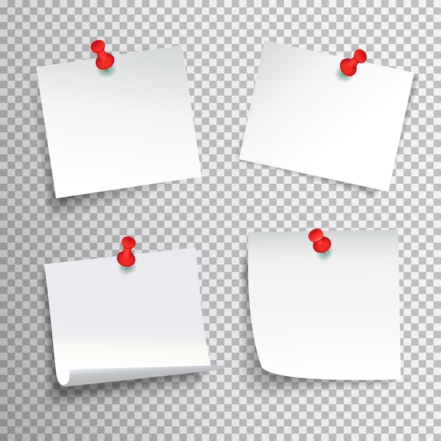Blank white paper set pinned with red pushpins on transparent background realistic isolated vector illustration Free Vector