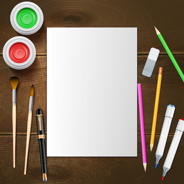 Blank white paper sheet and painter instruments Free Vector