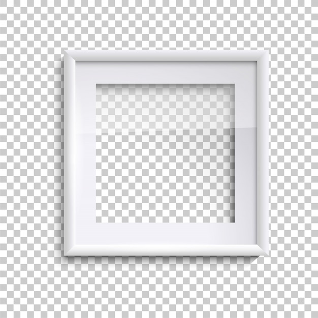 Blank white picture frame with glass, square empty picture frame Premium Vector