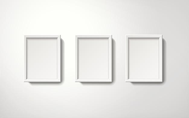 벽에 매달려 질서 정연한 방법으로 빈 흰색 액자 컬렉션, 3d 그림 현실적인 스타일 프리미엄 벡터