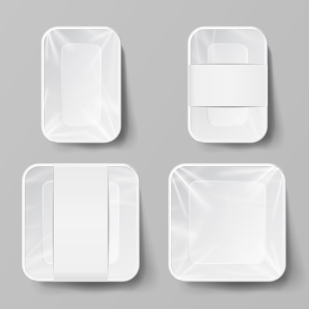Blank white plastic food container Premium Vector