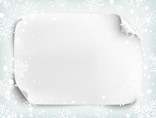 雪と雪と冬の背景に紙の空白の白いシート。パンフレット、チラシ、またはポスターのテンプレートです。図。 Premiumベクター