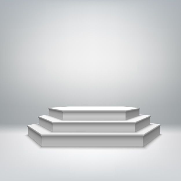 Blank white stage podium Free Vector