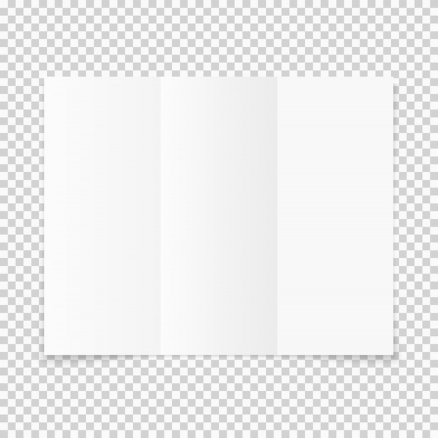Blank white tri-fold paper brochure with shadow Premium Vector