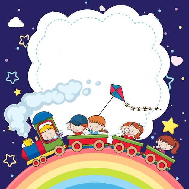 おもちゃの列車の子供たちと暗い青色の背景の空に虹と空白 Premiumベクター