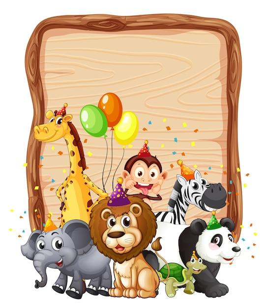 Cornice in legno bianco con animali selvatici in tema di festa Vettore gratuito