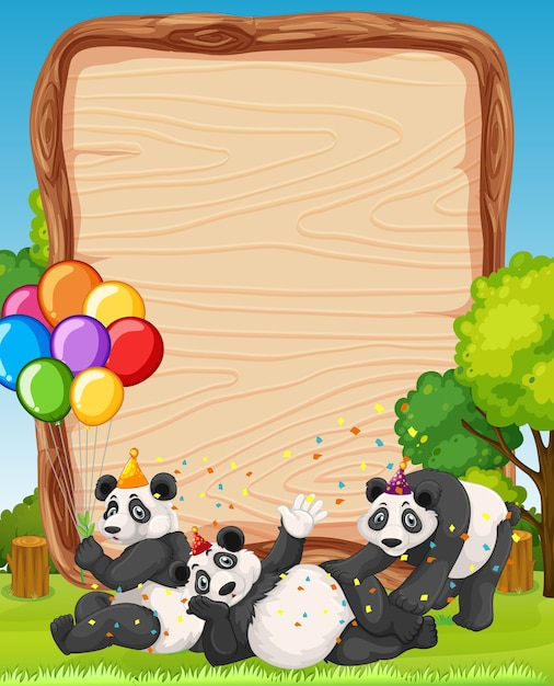 Blank wooden board with pandas in party theme on forest background Free Vector