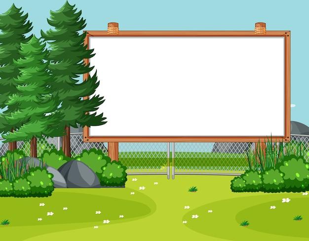 소나무와 자연 공원 현장에서 빈 나무 프레임 무료 벡터