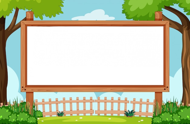 Blank wooden frame in nature scene Free Vector