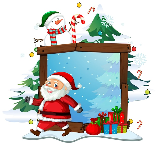 Blank wooden frame with santa claus in christmas theme on white background Free Vector