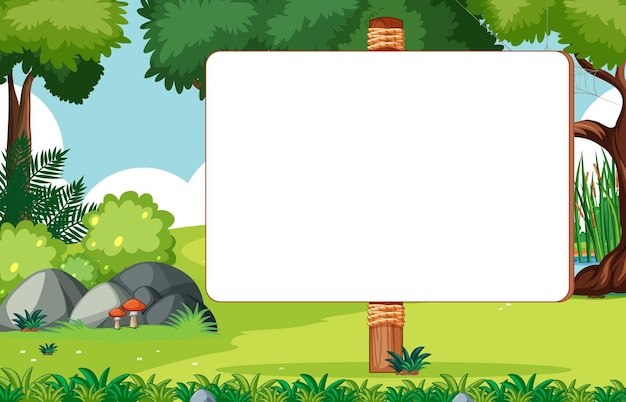 Blank wooden sign in nature park scene Free Vector